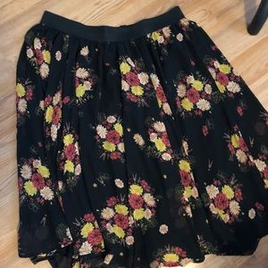 Torrid Black Floral Midi Skirt